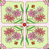 Granny Squares with pink flowers