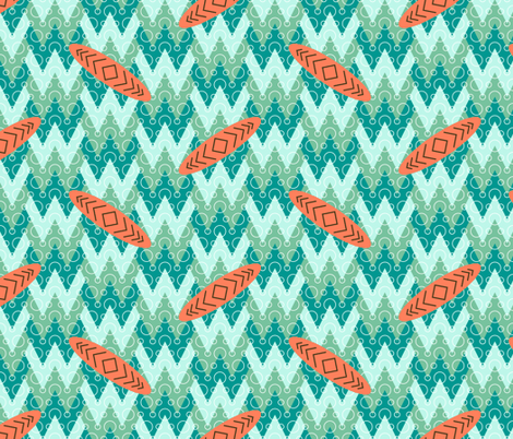 surfing the w-w-waves fabric by sef on Spoonflower - custom fabric