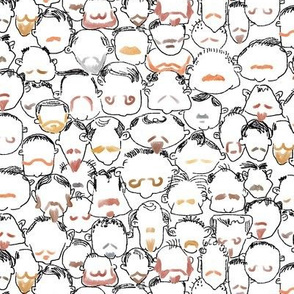 Beard and Mustache Heads White