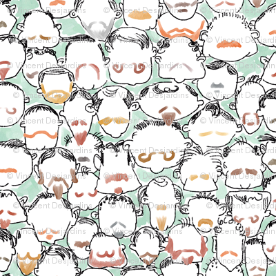 Beard and Mustache Heads Green