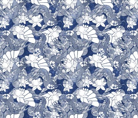koi and lotus indigo