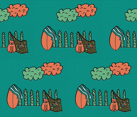 A Cat and her Surfboard (Teal) fabric by anniedeb on Spoonflower - custom fabric