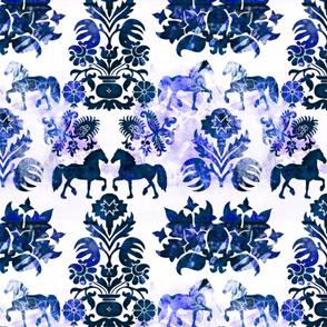 blue folk horses