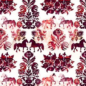 red folk horses