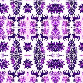 folk horses in violet