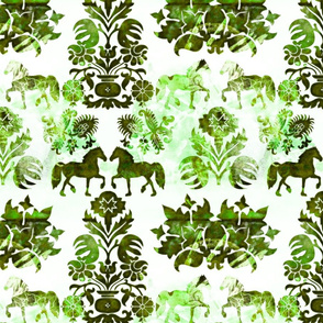 green horse damask