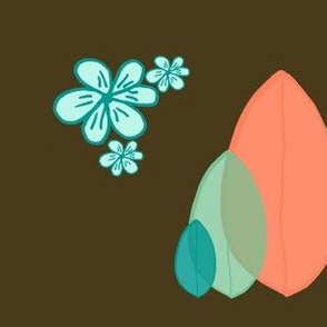 Surfboards Three on Brown with Flowers