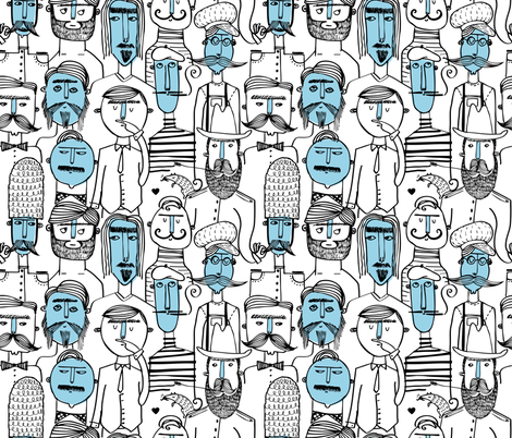 The Bristle Barons: A Mustache Bonanza! fabric by kaylaking on Spoonflower - custom fabric
