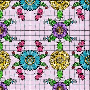 Tiled Garden, Pink Butterflies