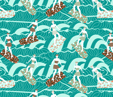 floral surfers fabric by kociara on Spoonflower - custom fabric