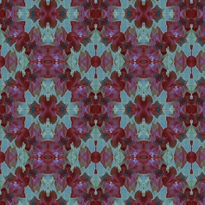 Burgandy and Teal Posterized Peony Mirror Image 12 x12