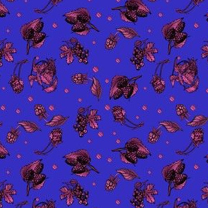 Berry Garden Ditzy on Blue