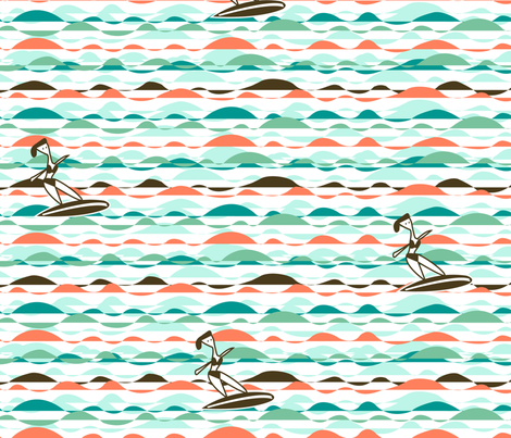 Retro_surfing_42x36 fabric by sarahsarah on Spoonflower - custom fabric