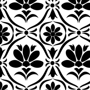 Black Flower Damask
