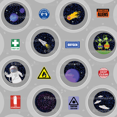 Cosmic view (portholes & safety signs)