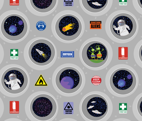 Cosmic view (portholes & safety signs) fabric by bippidiiboppidii on Spoonflower - custom fabric