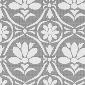 Grey Linen Flower Damask