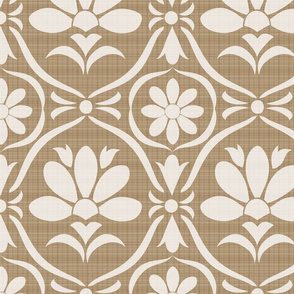 Taupe Flower Damask