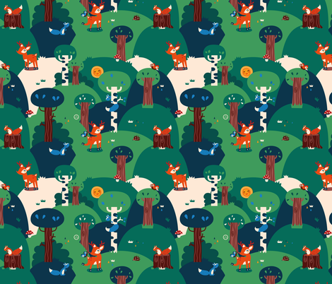 My forrest friends fabric by verycherry on Spoonflower - custom fabric
