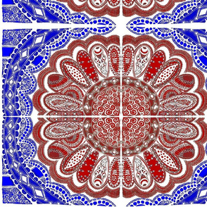 Zentangle Coloring Flower Red White Blue