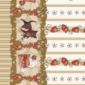 Strawberry Thief Lolita Print Antiqued Ivory and Tan, Kitten Tea Party