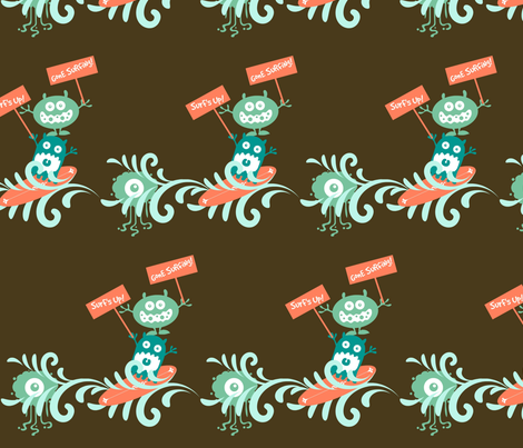 surf monsters fabric by wendymo on Spoonflower - custom fabric