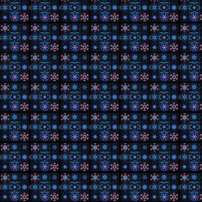 Blue Fractal Collage Pattern