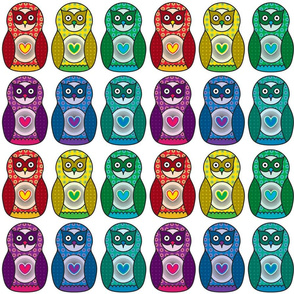 Rainbow Matryoshka Owl Pattern
