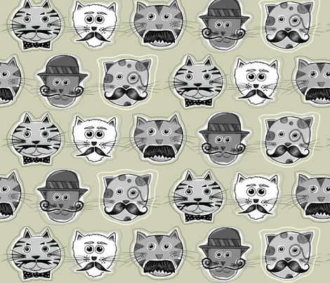 Meowstaches fabric by dianef on Spoonflower - custom fabric