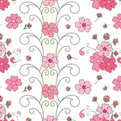 Floral panel - pinks on white