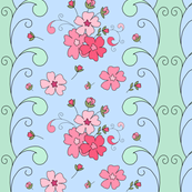 Floral panel with swirls