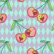 Cherries on harlequin