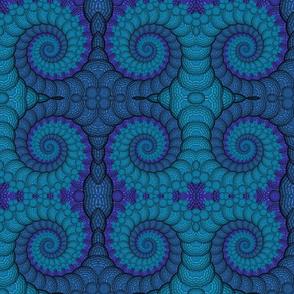 Blue Peacock Fractal Spiral