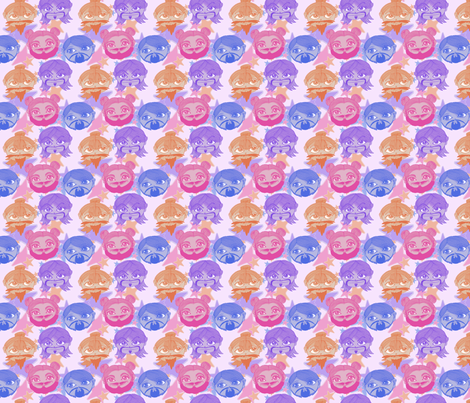 Girls with Beards and Mustaches - Small fabric by elsielevelsup on Spoonflower - custom fabric
