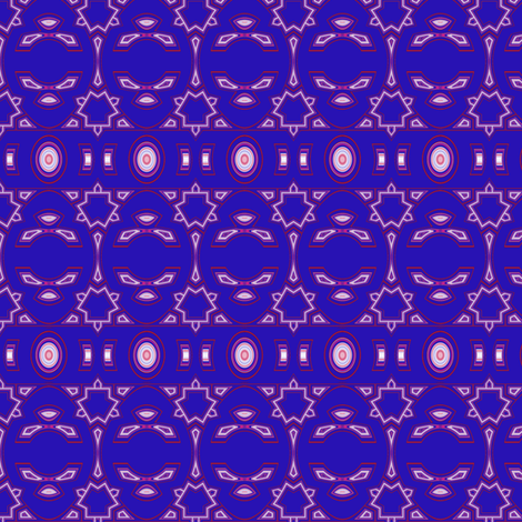 Berry Blue with Pink and White Geometric 2