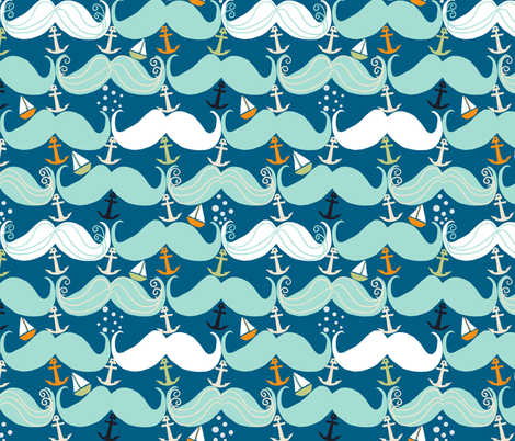 Mustache Waves fabric by taramcgowan on Spoonflower - custom fabric