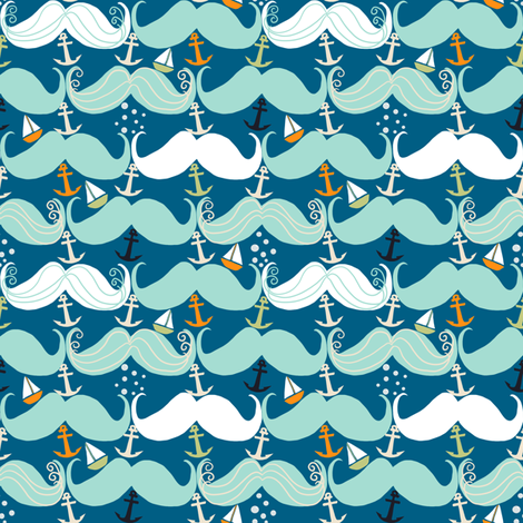Mustache Waves fabric by taramcgowan on Spoonflower - custom fabric