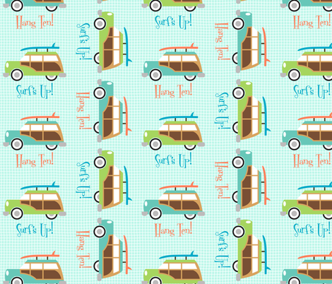 Woodie Surf Wagon fabric by appliquegeek on Spoonflower - custom fabric