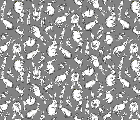 Mr. Jack Rabbit - Small Grey fabric by hipllama on Spoonflower - custom fabric