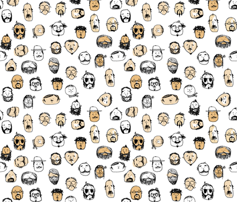 mr mustache fabric by laura_the_drawer on Spoonflower - custom fabric
