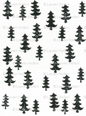 smaller black and white trees