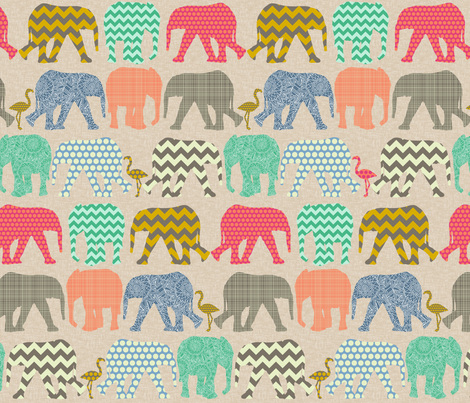 small linen baby elephants and flamingos fabric by scrummy on Spoonflower - custom fabric