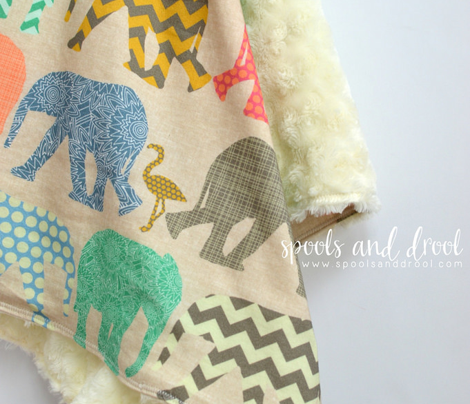 linen baby elephants and flamingos