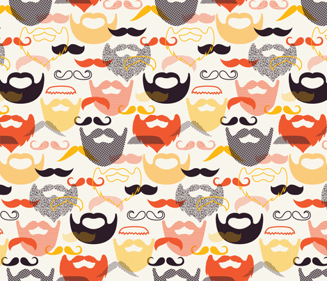 ModStache and Beards fabric by katerhees on Spoonflower - custom fabric