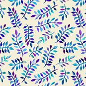 Watercolor Leaves in Blues & Purples
