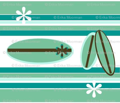Retro Surfer  Blue/ white flower - small print