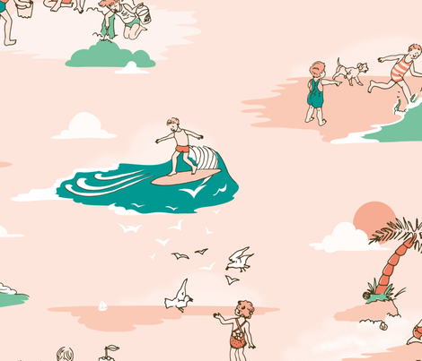 Vintage Surf Kids fabric by taffyandtwine on Spoonflower - custom fabric