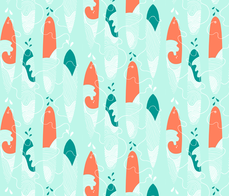 Surfing the waves half drop fabric by leoniehammerstein on Spoonflower - custom fabric