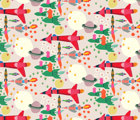 cosmic space travel fabric by walkyland on Spoonflower - custom fabric