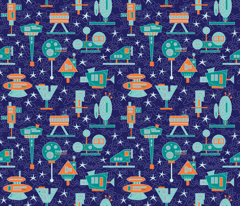 Alien Architecture (Space) fabric by brendazapotosky on Spoonflower - custom fabric